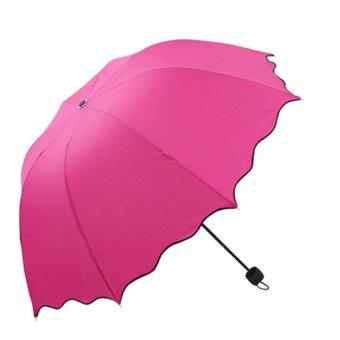 Flouncing Folding Lotus Leaves Princess Dome Parasol Sun/Rain Umbrella Hot Pink