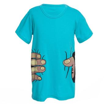 Novelty Round Collar Short Sleeve Fingers Print Boys T-Shirt - intl