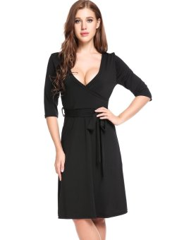 Sunweb New Women Casual Cross V-Neck Half Sleeve Solid A-Line Pleated Hem Elastic Dress ( Black ) - intl