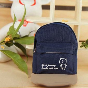 Cute Oxford Fabric Mini Backpack Coin Purse Wallet with Hook Dark Blue - INTL