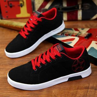 Giày Sneak Nam Thời Trang Sodoha SDN29029 Đen Phối Đỏ.