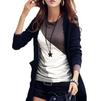 Sunweb Women Casual O-Neck Long Sleeve Patchwork Contrast Color Slim T-Shirt Tops ( Black ) - intl