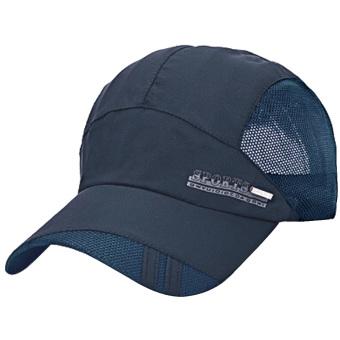 Unisex Summer Outdoor Sport Breathable Quick Dry Baseball Caps Solid Adjustable Sun Visor Hat Navy blue - intl