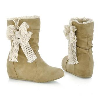 Sunwonder New Women's Casual Fashion Bobbin Lace Half Boots Flattie Single Boots Shoes (Yellow)