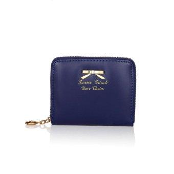 Women Fashion Cute Purse Clutch Wallet Short Small Bag PU Card Holder Dark Blue - intl