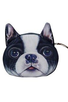 Bluelans Dog Face Zipper Wallet (Black) (Intl)