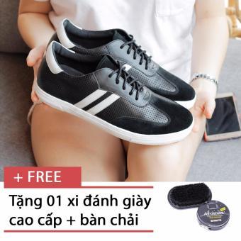 Giày sneaker nam Smartmen SM-06 (Đen), tặng kèm 1 hộp xi và 1 bàn chải đánh giày