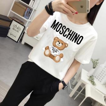 Áo thun nữ Moschino Bear Classic cotton cổ tròn