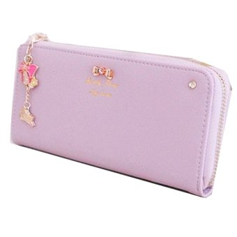 Long Card Leather Purse (Purple) - Intl