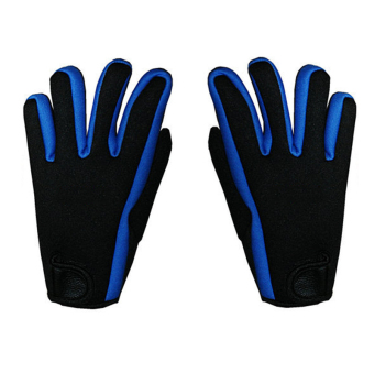 1 Pair of Men Male Neoprene Adjustable Warm Diving Snorkeling Surfing Sports Gloves Blue + Black M