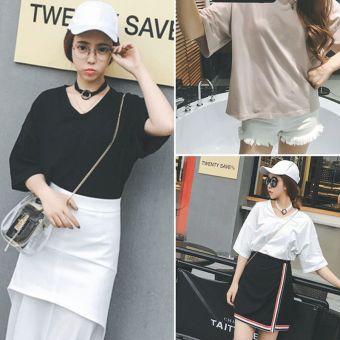Women V-Neck Strap Solid T-Shirt (Pink)--TC - intl