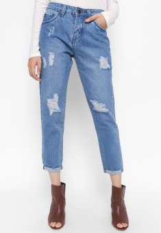 Quần Jeans Boyfriend 9 Tấc Rách Cung Cấp Bởi AAA Jeans (Xanh)