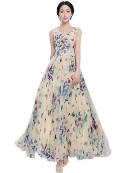 LALANG Butterfly Print Long Maxi Dress Blue - intl