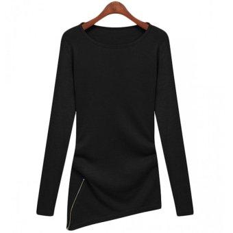 Cyber Autumn Winter Women Slim Fit Zipper Asymmetric Sweatshirt Long Sleeves Shirt Base Shirt (Black) (Intl)