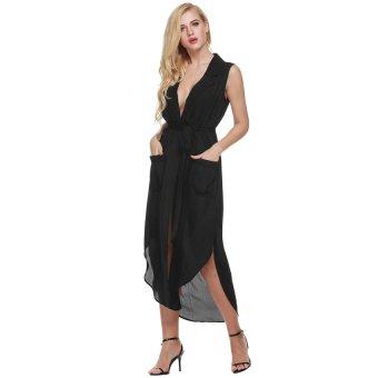 Cyber Zeagoo Women Sleeveless Slit Chiffon Maxi Shirt Dress With Belt ( Black ) - Intl