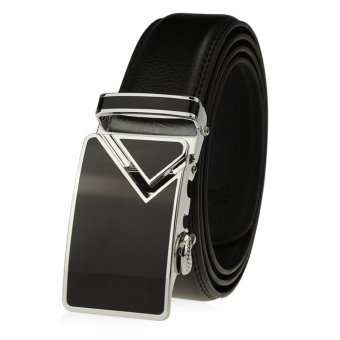 Mens Automatic Buckle Leather Belts125cm K36 (Black) - intl