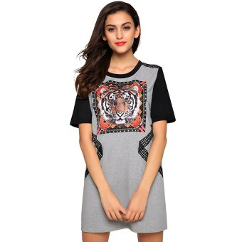 Cyber Finejo Women Casual Lace Decoration Short Sleeve Round Neck T-shirt Tops ( Grey ) - Intl