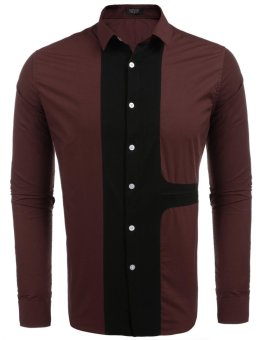 Cyber Men's Long Sleeve Patchwork Contrast Color Casual Button Down Shirt ( Red ) - intl