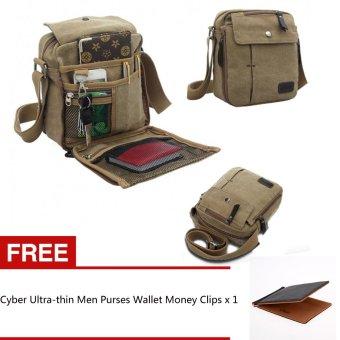 Cyber Men Vintage Style Canvas Multifunction Travel Satchel Messenger Shoulder Bag + Free Men Purses Wallet Multifunctional Money Clips - Intl