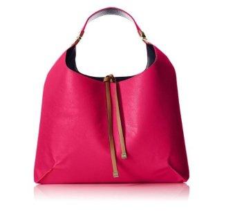 Túi xách tay nữ cao cấp Tommy Hilfiger TH Hinge Hobo Shoulder Bag, Raspberry/Navy (Hồng dâu)