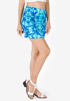 Chân váy in hoa nền xanh Cirino