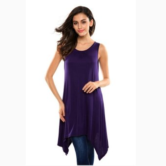 Sunweb Meaneor Women Casual Loose Round Neck Sleeveless A-Line Irregular Hem Stretch Long Tank Tops ( Purple ) - intl