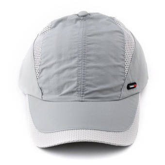 Moonar Men Outdoor Satin Solid Sport Sun Hat Quick-drying Baseball Caps With Adjustable Strap (Light gray) - intl