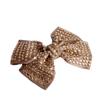 BolehDeals Girls Rhinestones Bowknot Hair Bow Barrette w/ Alligator Clip Size L - Random Color - Intl