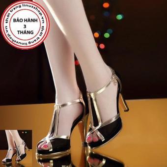 Giày cao gót lưới phối viền da - LN925