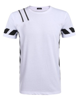 Cyber Men's O-Neck Short Sleeve Zipper Contrast Color Casual T-Shirt ( White ) - intl