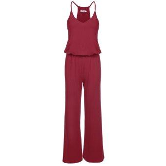Linemart Meaneor Women Spaghetti Strap High Waist Wide Leg Casual Long Jumpsuit ( Wine Red ) - intl
