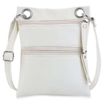 Double Zippers Solid Color Ladder Lock Shoulder Messenger Bag - intl