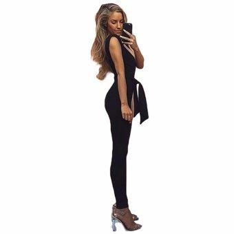 Fancyqube Women Half Deep Deep V Neckline Suit Clutch Long Pant Fashion New Elegant Satin Women Shinning Siamese Suit Black - intl