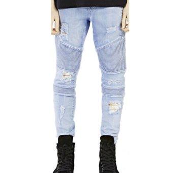 Mens Straight Slim Jeans (Light Blue) - intl