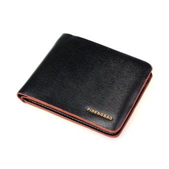 Men Leather Bifold Credit/ID Cards Holder Slim Wallet Brown/Black