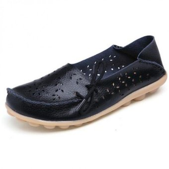 Women Flats Shoes Women Genuine Leather Shoes Woman Cutout Loafers Slip On Ballet Flats Boat Shoes - intl