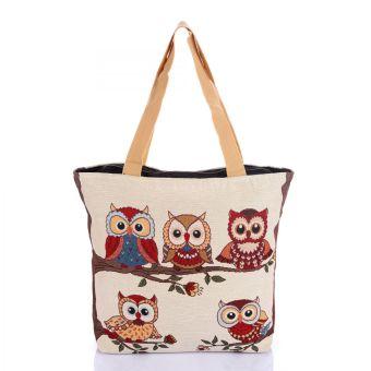 Túi xách thời trang thổ cẩm họa tiết chim cú Hoian Gifts HA-2C