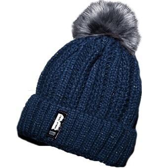 Women Knitted Acrylic Woven Yarn Winter Warm Hat Cap Pom Pom Beanie Winter Hats Christmas New Year Costume Gift Blue - intl