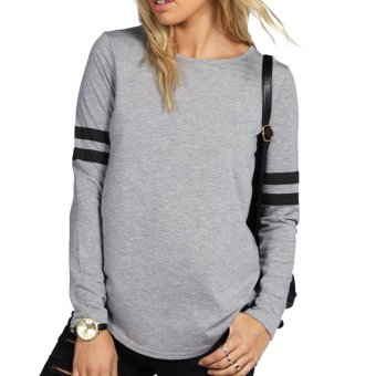 Sunweb Fashion Women's O-Neck Long Sleeve Casual Loose T-Shirt Tops ( Gray ) - intl