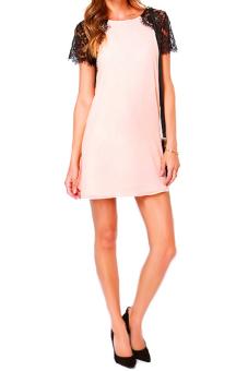 Vococal Chiffon Lace Shift Dress (Pink) - Intl