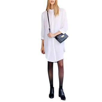 White Women Casual Solid Color Long Sleeve Long Shirt - intl
