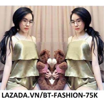Đồ Bộ Phi Bóng - Ở Nhà, Đi Ngủ - BT Fashion DN006A (02 Lớp - Vàng)