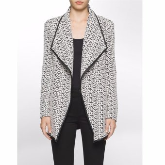 Áo khoác nữ Calvin Klein viền da PONTE KNIT JACKET - Hàng nhập khẩu