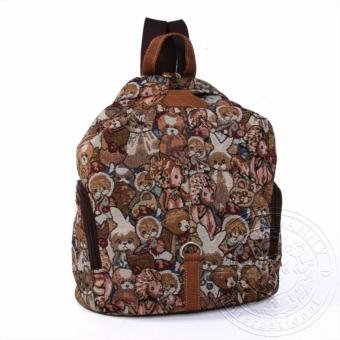 Balo nữ gấu dav danny 2 túi bên hông màu nâu trẻ trung dành cho bạn gái - DD152A915
