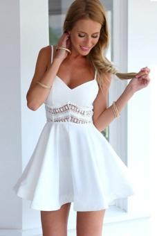 Women Camisole Strapless Neckline Gown Prom Sundress Flare Bud Dresses (White) - intl