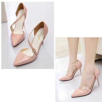 Women High Heels With Breathable And Side Buckle Design (Pink) - intl