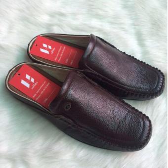 Giày công sở nam, giày lười nam, giày da bò nam, giày da nam thật - Sabo da nau