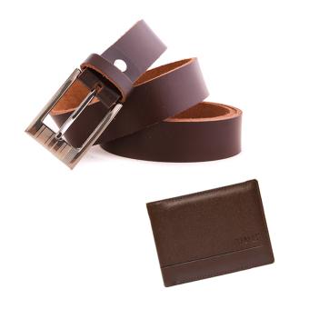 Bộ Ví dáng ngang và Thắt lưng nam da thật 100% Giày Da Miền Trung VCTT217NA211N (màu nâu)