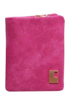 Bluelans Women Matte Faux Leather Zipper Hasp Wallet Purse Card Handbag Rose-Red (Intl)