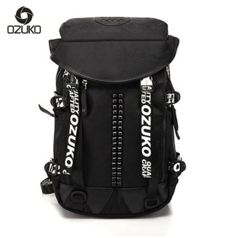 OZUKO 2017 Creative School Bags for Teenagers Girl Boy Student Bags Fashion Waterproof Backpack (Black) - intl